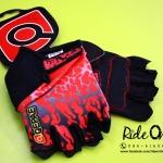 ถุงมือเจลครึ่งนิ้ว QEPAE - Fire Red