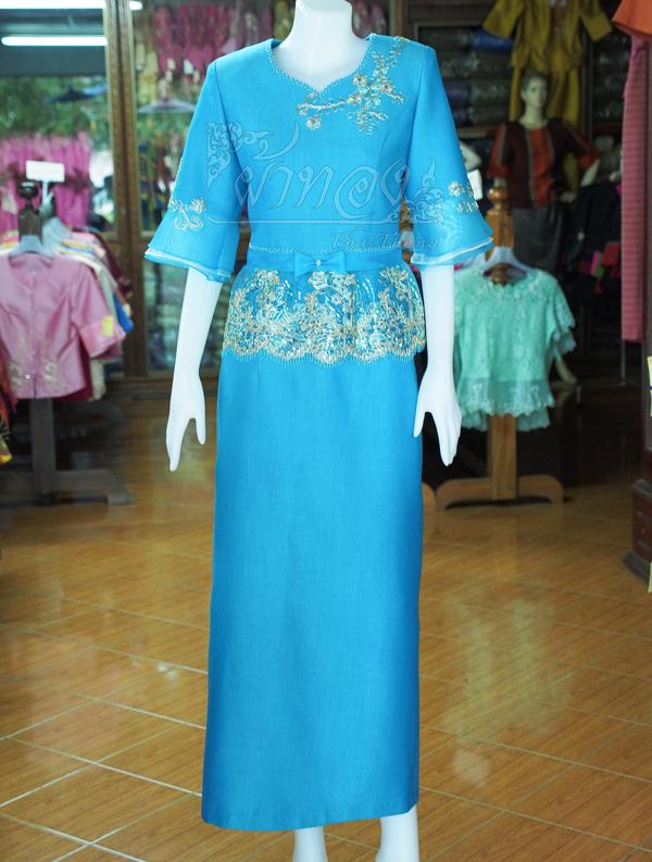 ชุดเสื้อกระโปรงผ้าฝ้ายสุโขทัยแต่งผ้าลูกไม้สีฟ้า ไซส์ S