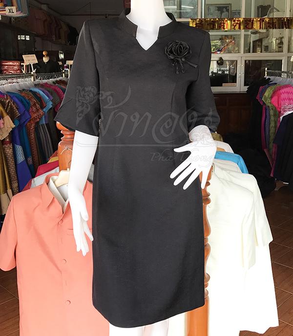 เดรสผ้าฝ้ายผสม สีดำ ไซส์ M