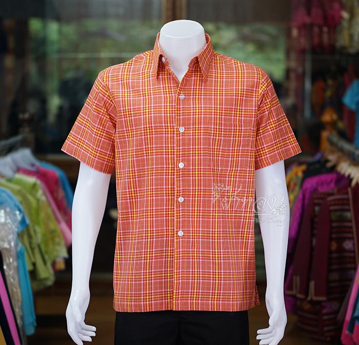 เสื้อเชิ้ตผ้าทอลายสก็อต ไม่อัดผ้ากาว สีส้ม ไซส์ 2XL