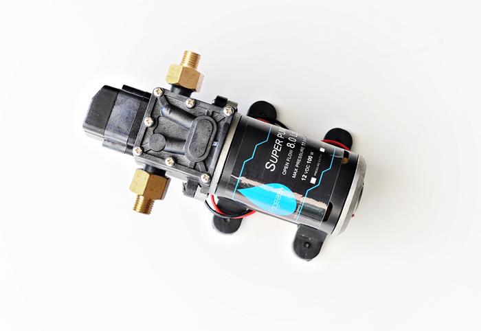 ปั๊ม 12VDC 100W 11 บาร์ ( pressure switch ) สำหรับ พ่นยา เกลียวทองเหลืองขนาด 1/4