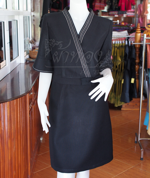 เดรสผ้าฝ้ายสุโขทัยสีดำ ไซส์ 2XL