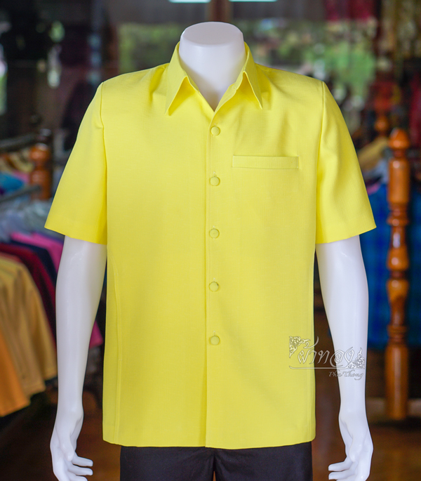 เสื้อสูทผ้าฝ้ายผสม สีเหลือง ไซส์ 4XL