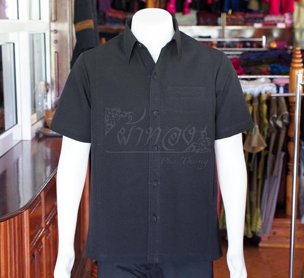 เสื้อเชิ้ตผ้าโอซาก้าสีดำ ไม่อัดผ้ากาว ไซส์ L