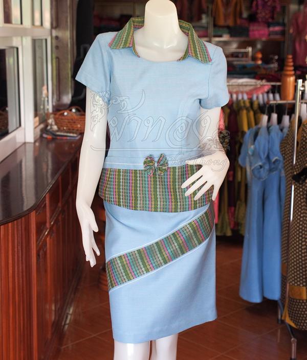 ชุดเสื้อกระโปรงผ้าฝ้ายสุโขทัยแต่งลายมุกสายรุ้งปกเชิ้ต ไซส์ S