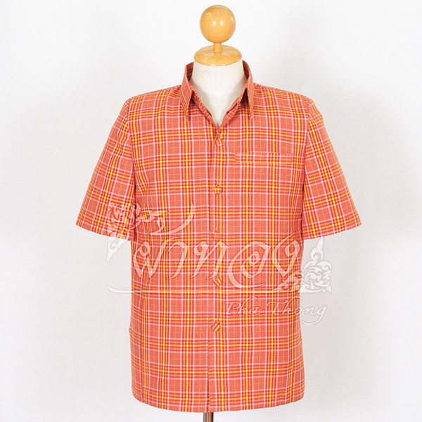 เสื้อสูทผ้าฝ้ายลายสก็อต สีส้มอิฐ ไซส์ 2XL