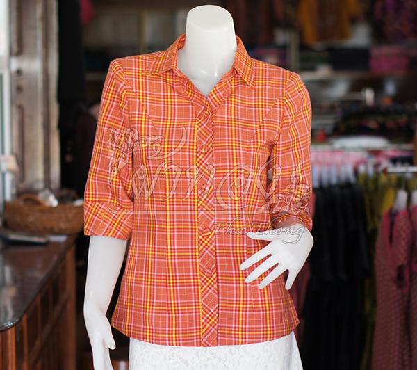 เสื้อผ้าฝ้ายทอลายสก็อต ปกเชิ้ตคอวี ไซส์ M