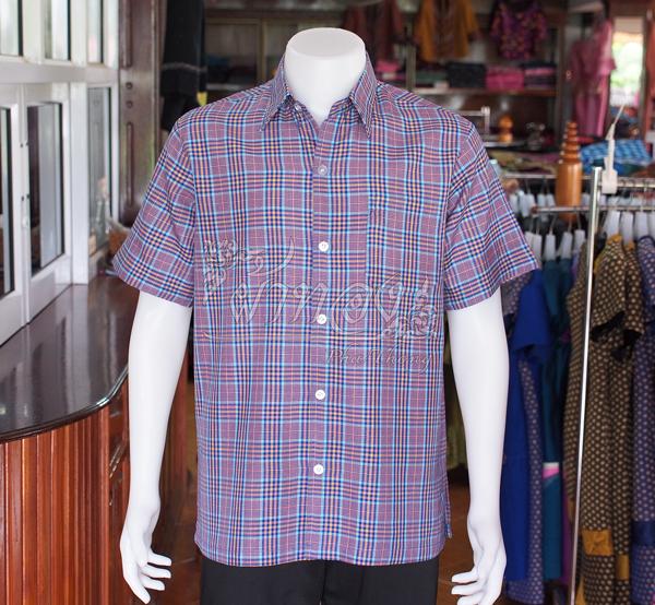 เสื้อเชิ้ตผ้าฝ้ายทอลายสก็อต ไม่อัดผ้ากาว ไซส์ S