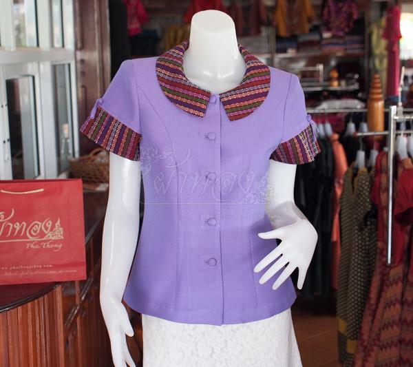 เสื้อผ้าฝ้ายสุโขทัยแต่งผ้ามุกสายรุ้ง อัดผ้ากาว ไซส์ S
