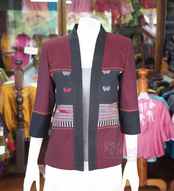 เสื้อคลุมผ้าฝ้ายสุโขทัยแต่งผ้าตีนจก ไซส์ M