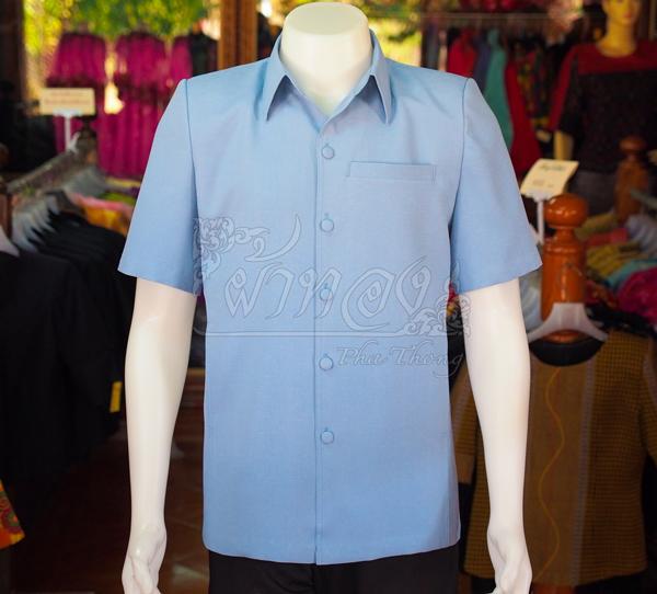 เสื้อสูทผ้าฝ้ายผสม สีฟ้าเทา ไซส์ XL