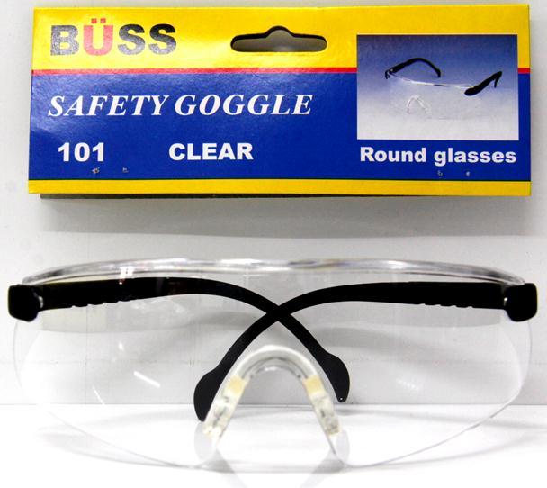 แว่นตากันสะเก็ด BUSS (ทรงเหลี่ยม สีดำเข้ม)