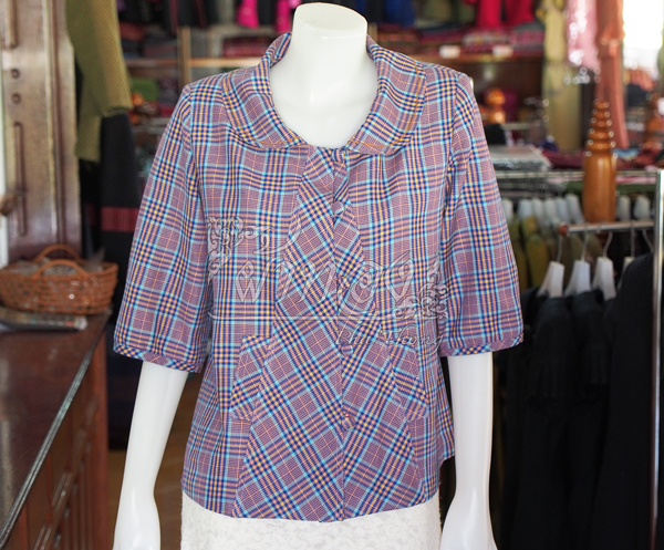 เสื้อผ้าฝ้ายทอลายสก็อต คอบัว ไม่อัดกาว ไซส์ XL