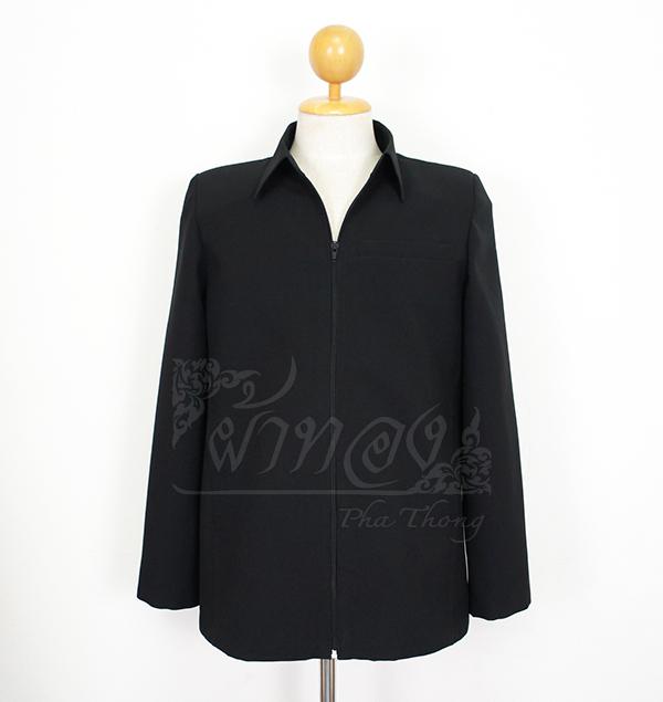 เสื้อสูทซิปผ้าโอซาก้าสีดำแขนยาว ไซส์ XS