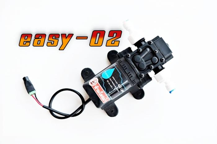 ปั๊มปั๊ม EASY- 02 แรงดันต่ำ 12VDC 45W 8 บาร์ ( สำหรับพ่นหัวเกลียว/กระดุม/หัวเนต้าฟิล์ม 3-15 หัวพ่น ) + ข้อต่อข้างปั๊ม