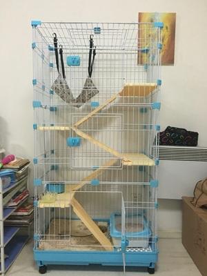 กรงแมว style Condo มีหลายชั้น บ้านแมว กรงสัตว์เลี้ยง เป็นทั้งบ้านที่นอน ห้องอาหาร ห้องน้ำสำหรับสัตว์เลี้ยง ประกอบง่าย สูง51cm - 158 cm พับเก็บได้ มีล้อ