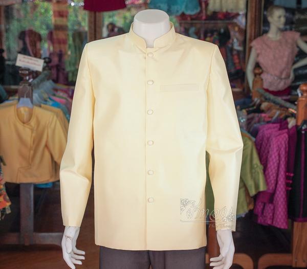 เสื้อสูทไหมแพรทองคอพระราชทานแขนยาว ไซส์ L