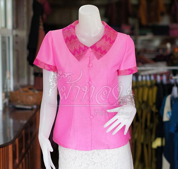 เสื้อผ้าฝ้ายสุโขทัยสีชมพูแต่งผ้ามัดหมี่สุโขทัย ไม่อัดผ้ากาว ไซส์ XL