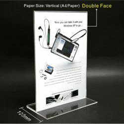 ป้ายสอดกระดาษแนวตั้ง ขนาดใส่กระดาษ A4 อครีลิคหนา 3mm.