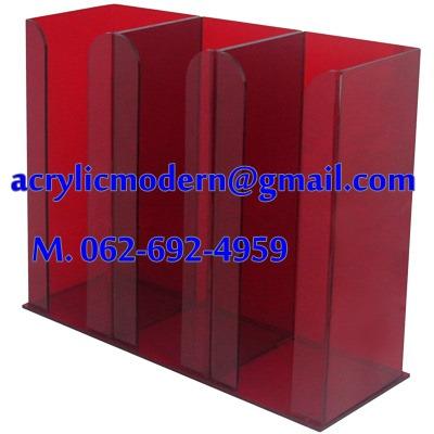 กล่องอครีลิคใส่แก้วกาแฟ 3 ช่อง สีแดง