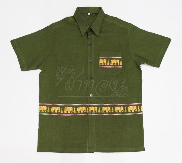 เสื้อเชิ้ตผ้าฝ้ายทอลายช้าง ไม่อัดผ้ากาว ไซส์ XL