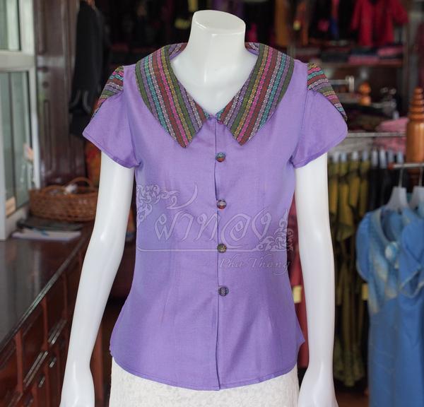 เสื้อผ้าฝ้ายสุโขทัยสีม่วงแต่งผ้ามุกสายรุ้ง ไม่อัดผ้ากาว ไซส์ L