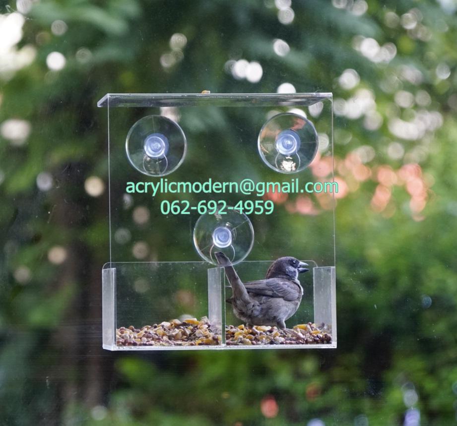 กล่องให้อาหารนก แบบติดกระจก