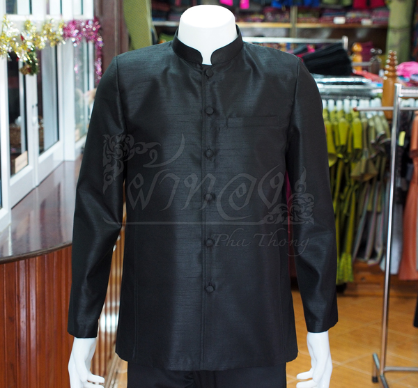 เสื้อสูทไหมแพรทองคอพระราชทานแขนยาว สีดำ ไซส์ 2XL