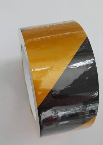 REFLECTIVE TAPE เทปตีเส้น สะท้อนแสง สีเหลือง-ดำ กว้าง 2 นิ้ว ยาว 20 เมตร