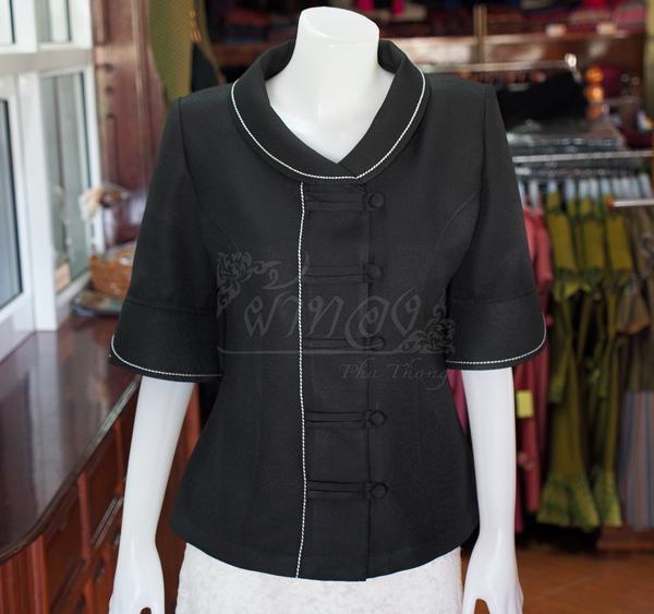 เสื้อผ้าฝ้ายทอลายลูกแก้วสีดำ ไซส์ L