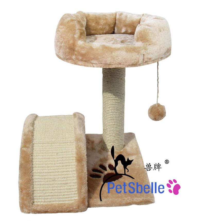 MU0120 คอนโดแมวสองชั้น ต้นไม้แมว ของเล่นแขวน กระบะนอนนุ่ม สะพานฝนเล็บ ลายรอยเท้าสัตว์ สูง 40 cm