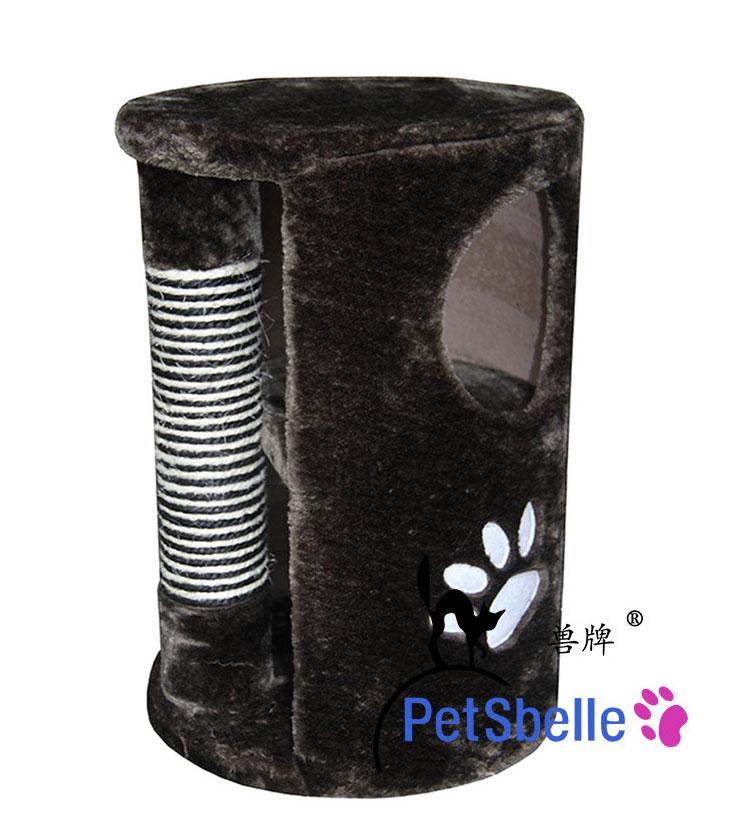 MU0123 คอนโดแมว ต้นไม้แมว กระบอกอุโมงค์เสาฝนเล็บ สีดำ สูง 50 cm