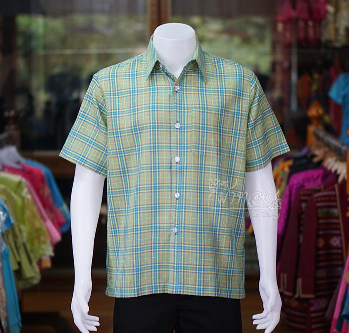 เสื้อเชิ้ตผ้าทอลายสก็อต ไม่อัดผ้ากาว สีเขียว-เหลือง ไซส์ XL