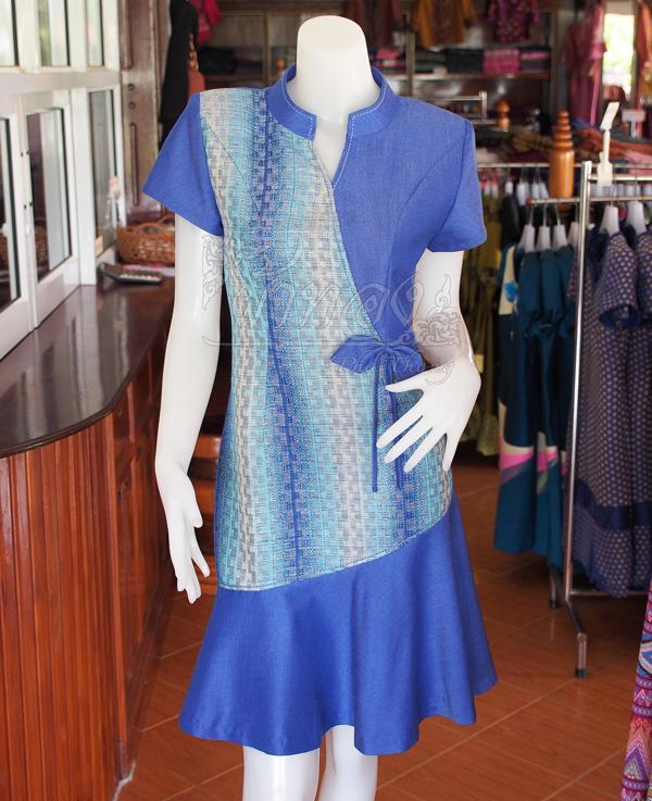 เดรสผ้าฝ้ายสุโขทัยแต่งผ้าหมากรุก ไซส์ XL