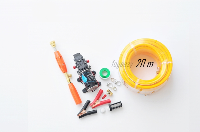 ชุดลากสายพ่นยา ก้านพ่นยา ( 30 cm ) สาย 20 m ปั๊ม 12VDC 100W 11 บาร์ ( pressure switch )