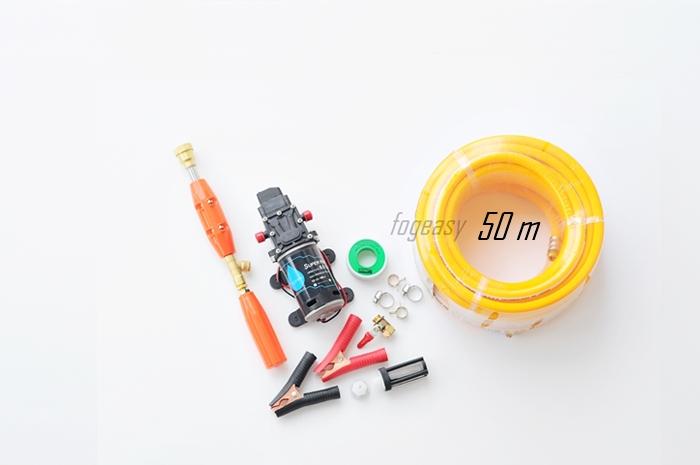ชุดลากสายพ่นยา ก้านพ่นยา ( 30 cm ) สาย 50 m ปั๊ม 12VDC 100W 11 บาร์ ( pressure switch )