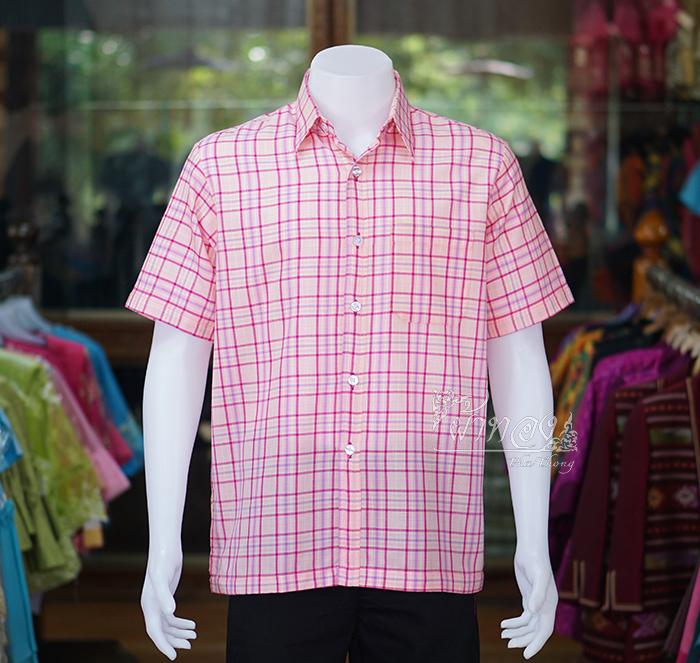 เสื้อเชิ้ตผ้าทอลายสก็อต ไม่อัดผ้ากาว สีชมพู ไซส์ S