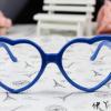 แว่นตาแฟชั่นเกาหลี กรอบหัวใจสีน้ำเงิน (ไม่มีเลนส์)
