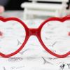 แว่นตาแฟชั่นเกาหลี กรอบหัวใจสีแดง (ไม่มีเลนส์)