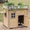 บ้านหมา บ้านแมว ทำจากไม้สนสามใบ ระเบียงกลางแจ้งพร้อมสวนดอกไม้ รูปแบบสวยงาม มีหลายขนาดให้เลือก