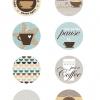 ไอเดียสำหรับการพิมพ์ สติ๊กเกอร์ฉลากสินค้า // สไตล์การออกแบบ ดีไซน์เรียบๆ น่ารัก ฉลากใช้สำหรับ แปะกับแก้วกาแฟ
