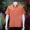 เสื้อเชิ้ตผ้าทอลายสก็อต ไม่อัดผ้ากาว สีส้ม ไซส์ M
