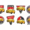 ฉลากสำหรับตกแต่ง สไตล์การออกแบบดีไซน์แบบใช้สีสันที่สดุดตาสวยงาม ฉลากไว้ใช้แปะกับรถยนต์,กระจกรถยนต์เพื่อการตกแต่ง // ตัวอย่างดีไซน์ สติ๊กเกอร์ฉลาก Chill Shop Package