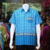 เสื้อเชิ้ตผ้าฝ้ายทอลายช้าง ไม่อัดผ้ากาว สีฟ้าเข้ม-ฟ้าอ่อน ไซส์ 2XL