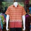 เสื้อเชิ้ตผ้าฝ้ายทอลายช้าง ไม่อัดผ้ากาว สีแดง-เหลือง ไซส์ S