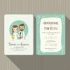 การ์ดแต่งงาน Wedding card สไตล์การออกแบบดีไซน์ใช้โทนสีฟ้าอ่อนๆและนำรูปการ์ตูนบ่าวสาวมากตกแต่งเพิ่มความน่ารักเก๋ไก๋แก่การ์ดแต่งงาน การ์ดงานแต่ง ไว้สำหรับ เรียนเชิญแขกผู้มีเกียรติเข้ามาร่วมงานแต่งงาน // ตัวอย่างดีไซน์ การ์ดแต่งงาน การ์ดเชิญ การ์ดสวยๆ