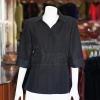 เสื้อผ้าฝ้ายสุโขทัยสีดำ ปกเชิ้ตคอวี ไซส์ XL