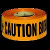 เทปกั้นเขต สีส้ม พิมพ์ Caution Biohazard กว้าง 7 ซม. ยาว 300 เมตร ไม่มีกาว