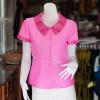 เสื้อผ้าฝ้ายสุโขทัยสีชมพูแต่งผ้ามัดหมี่สุโขทัย ไม่อัดผ้ากาว ไซส์ S