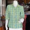 เสื้อผ้าฝ้ายทอลายสก็อต ปกเชิ้ตคอวี ไซส์ XL